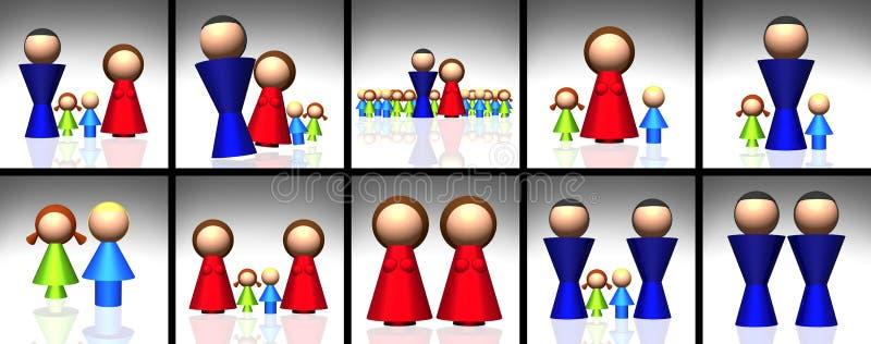 τρισδιάστατα οικογενειακά εικονίδια διανυσματική απεικόνιση
