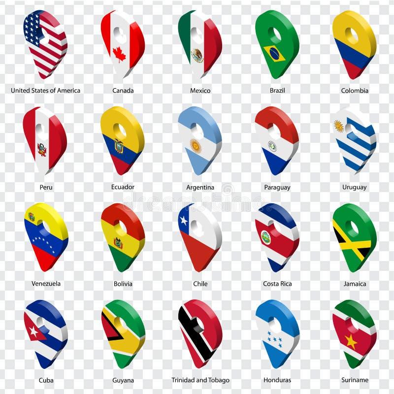 τρισδιάστατα σημάδια geolocation είκοσι χωρών Nouth Αμερική και Νότια Αμερική με τις επιγραφές Σύνολο είκοσι τρισδιάστατων εικονι απεικόνιση αποθεμάτων