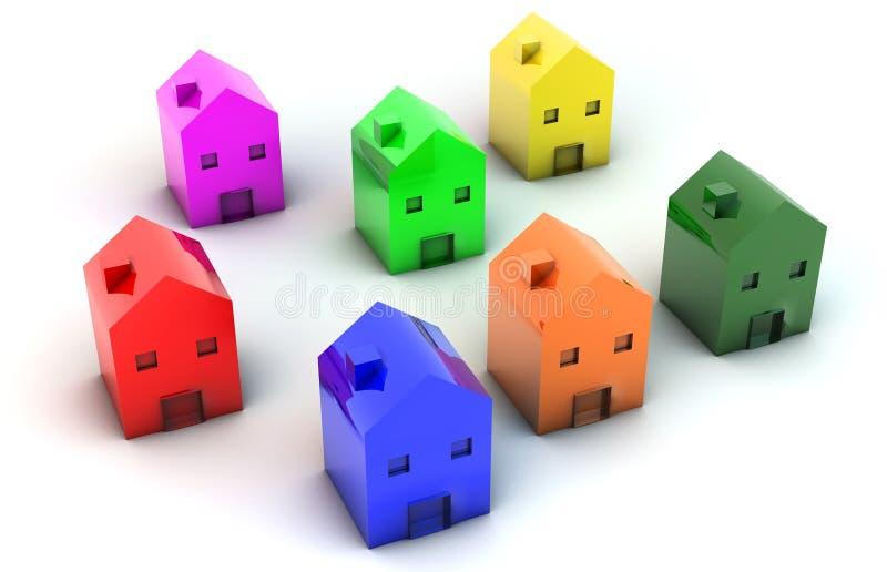τρισδιάστατα σπίτια απεικόνιση αποθεμάτων