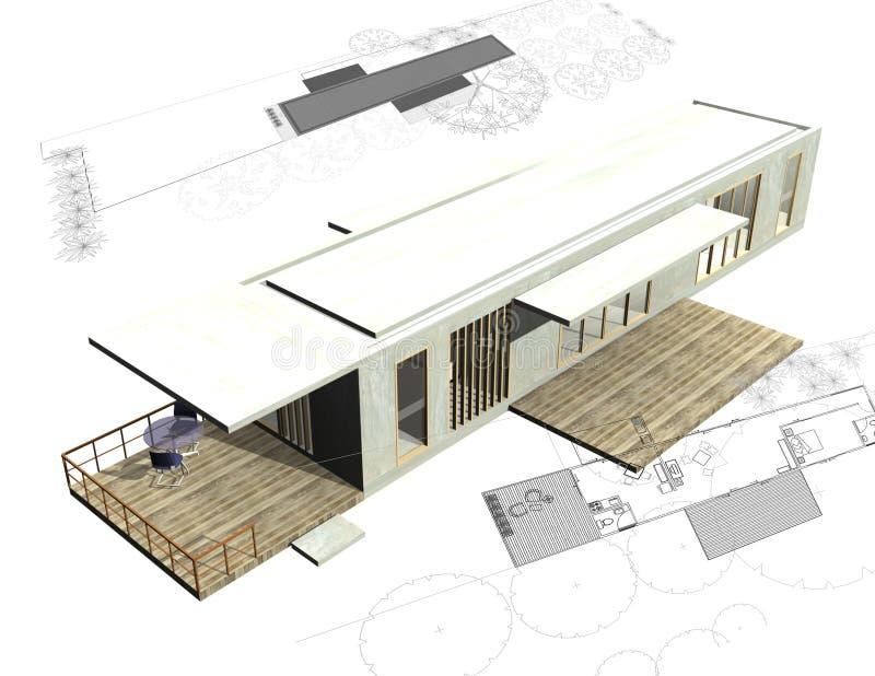 τρισδιάστατα σχέδια κατοικίας οικοδόμησης αρχιτεκτονικής ελεύθερη απεικόνιση δικαιώματος