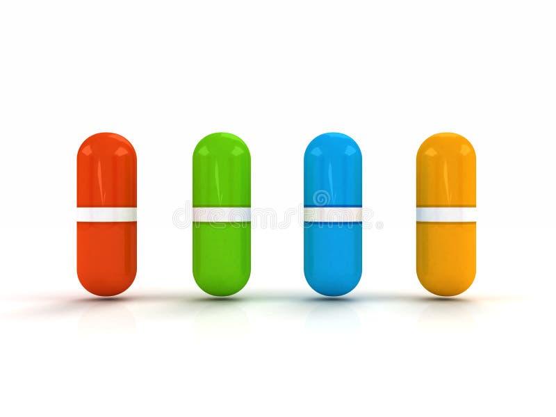 τρισδιάστατα χάπια χρώματος διανυσματική απεικόνιση