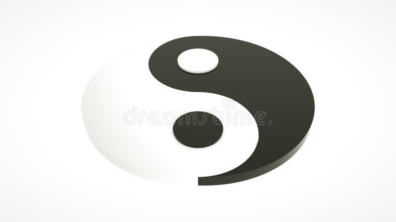 τρισδιάστατα yin και yang σύμβολο στην άσπρη επιφάνεια απεικόνιση αποθεμάτων