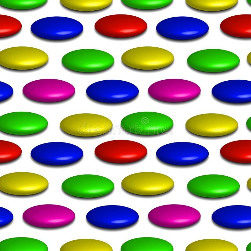 τρισδιάστατες βερνικωμένες σοκολάτες confectionery Ή ακριβώς κουμπιά seamless ελεύθερη απεικόνιση δικαιώματος
