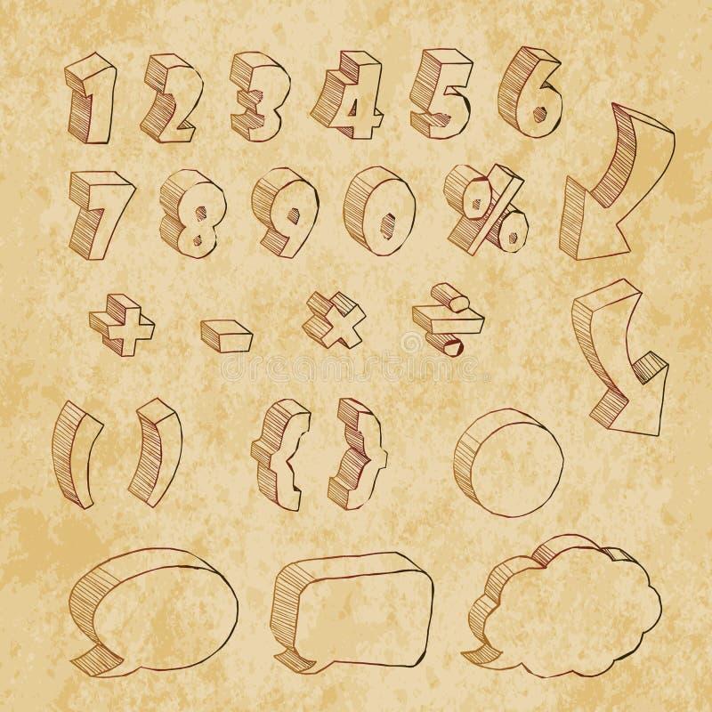 τρισδιάστατες επιστολές ύφους κινούμενων σχεδίων συρμένες χέρι τυπογραφικές στον αναδρομικό τρύγο ελεύθερη απεικόνιση δικαιώματος