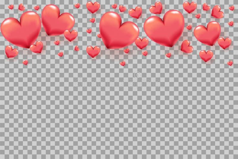 τρισδιάστατες καρδιές ως πλαίσιο στο διαφανές υπόβαθρο για τη ευχετήρια κάρτα ημέρας του βαλεντίνου, αφίσα διακοπών, έμβλημα, πρό ελεύθερη απεικόνιση δικαιώματος