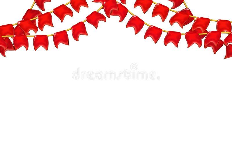 Τρισδιάστατες στιλπνές κόκκινες σημαίες ή σημαίες λίγης σύνθεσης γιρλαντών από ένα σχοινί, διακοπές, ρεαλιστικό πλαστικό παιχνίδι απεικόνιση αποθεμάτων