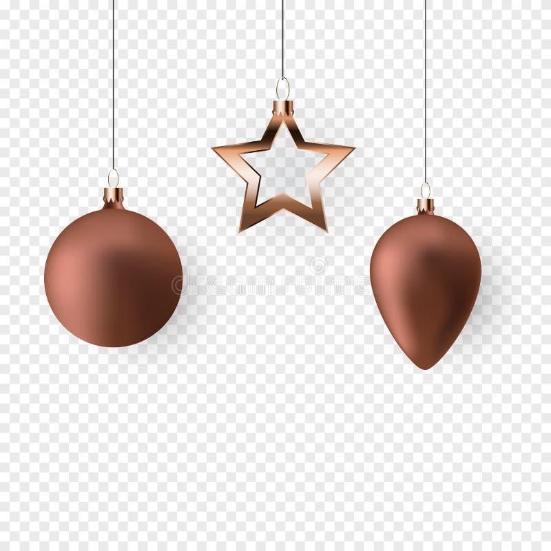 τρισδιάστατες σφαίρες Χριστουγέννων για το νέο σχέδιο έτους διακοπών στο διαφανές υπόβαθρο επίσης corel σύρετε το διάνυσμα απεικό ελεύθερη απεικόνιση δικαιώματος