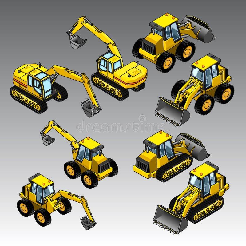 τρισδιάστατες isometric μηχανές κατασκευής καθορισμένες απεικόνιση αποθεμάτων