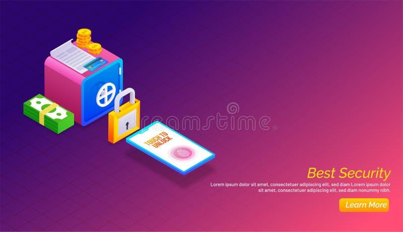τρισδιάστατη άποψη της κλειδαριάς, του smartphone, της δέσμης χρημάτων και της ασφαλούς απεικόνισης ελεύθερη απεικόνιση δικαιώματος