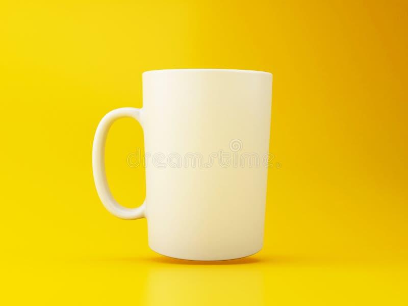 τρισδιάστατη άσπρη κούπα καφέ στο κίτρινο υπόβαθρο ελεύθερη απεικόνιση δικαιώματος