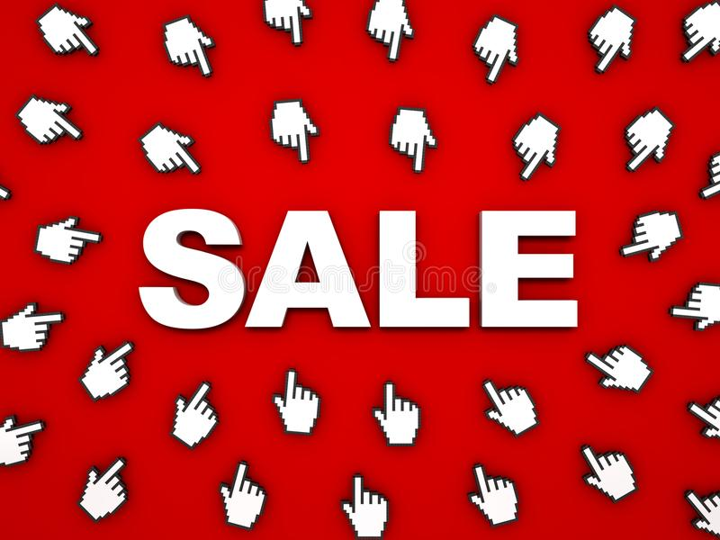 τρισδιάστατη άσπρη λέξη πώλησης με τους δρομείς χεριών στο κόκκινο υπόβαθρο με τη σκιά ελεύθερη απεικόνιση δικαιώματος