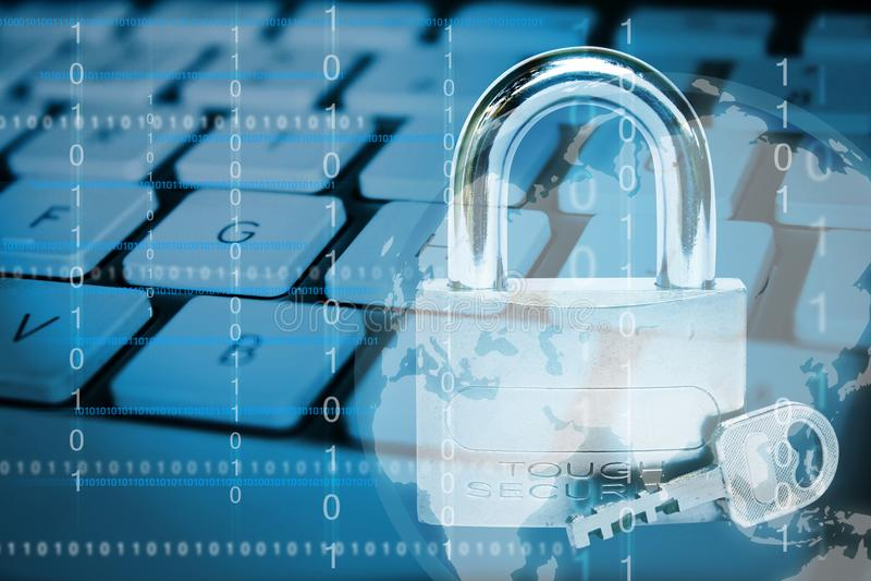 τρισδιάστατη έννοια Διαδίκτυο που δίνει την ασφάλεια στοκ φωτογραφίες
