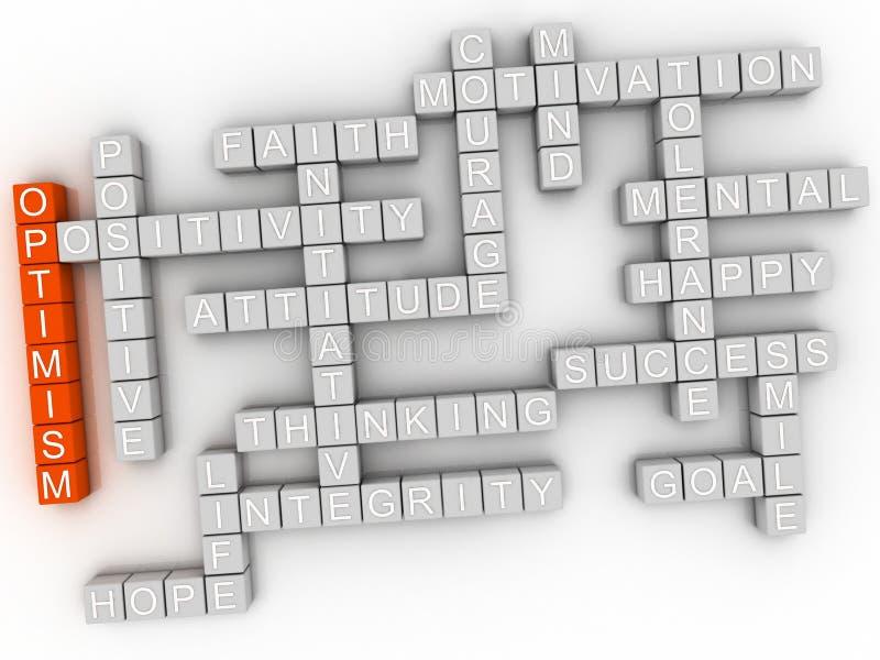 τρισδιάστατη έννοια σύννεφων λέξης αισιοδοξίας imagen απεικόνιση αποθεμάτων