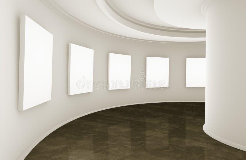 τρισδιάστατη αίθουσα εκθέσεως απεικόνιση αποθεμάτων