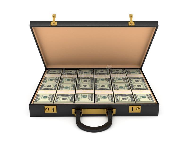 τρισδιάστατη ανοικτή περίπτωση με τα χρήματα διανυσματική απεικόνιση