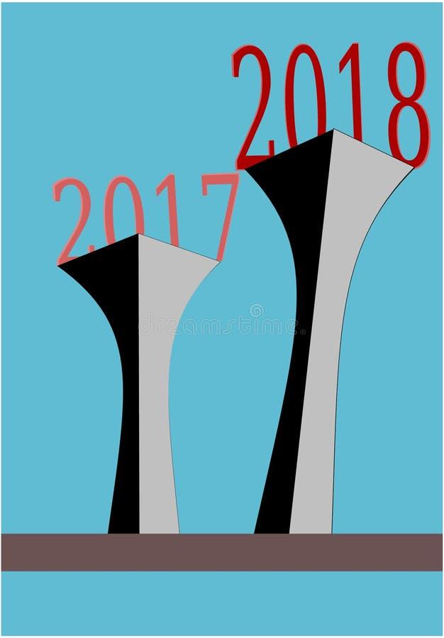 Τρισδιάστατη απεικόνιση έκφρασης προόδου αύξησης χαιρετισμού καλής χρονιάς διανυσματική μπροστά ελεύθερη απεικόνιση δικαιώματος