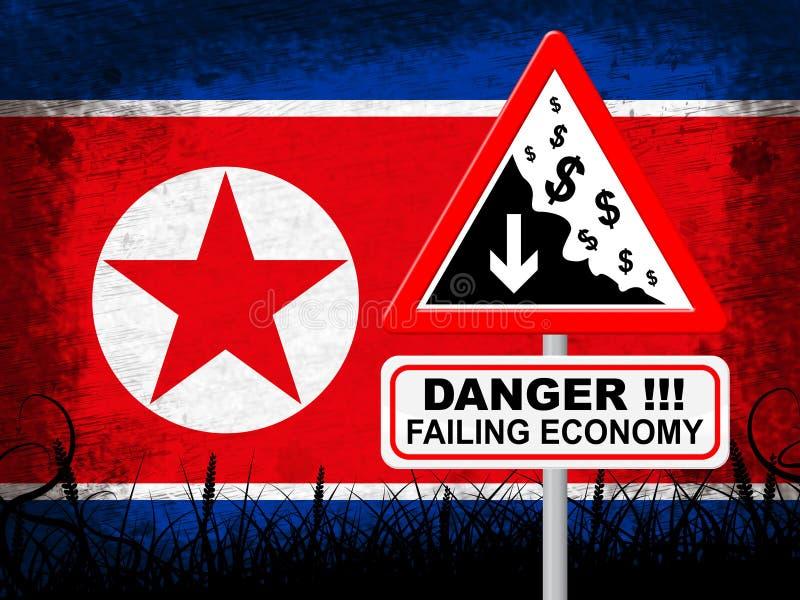 Τρισδιάστατη απεικόνιση βόρειας κορεατική μειωμένη οικονομίας κινδύνου ελεύθερη απεικόνιση δικαιώματος