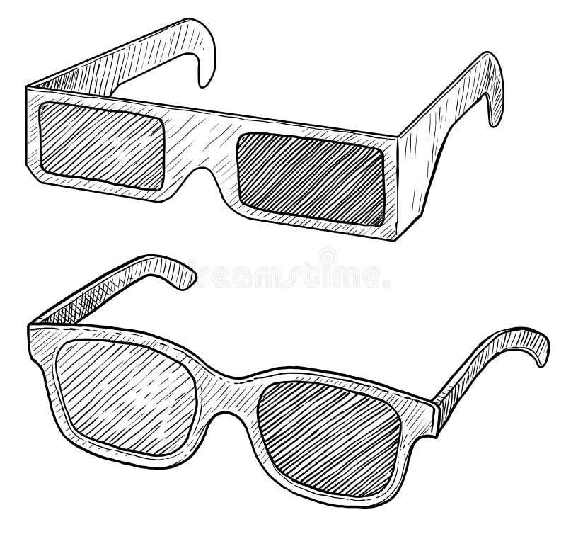 τρισδιάστατη απεικόνιση γυαλιών, σχέδιο, χάραξη, μελάνι, τέχνη γραμμών, διάνυσμα απεικόνιση αποθεμάτων