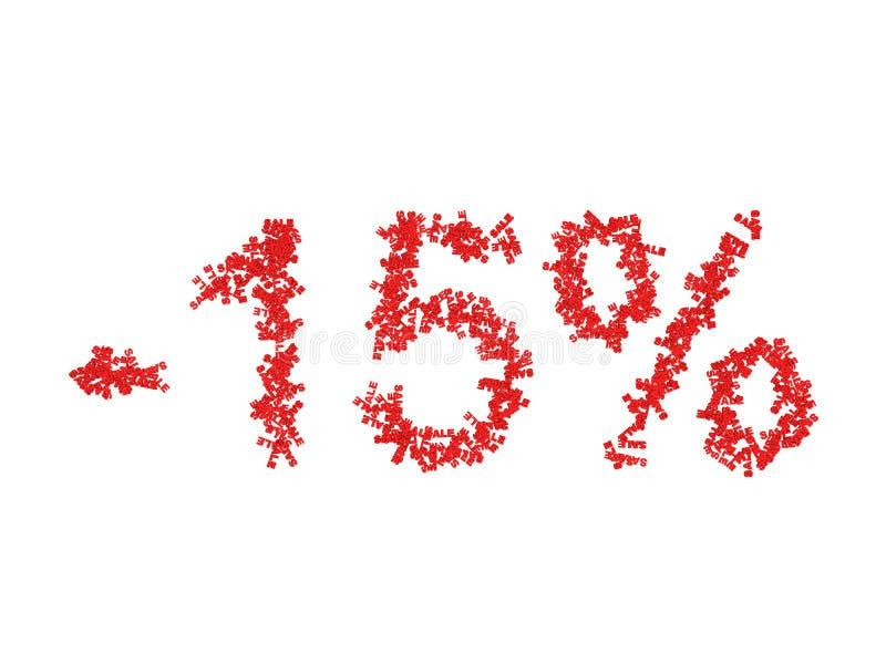 τρισδιάστατη απεικόνιση 15 δεκαπέντε τοις εκατό - έκπτωση απεικόνιση αποθεμάτων