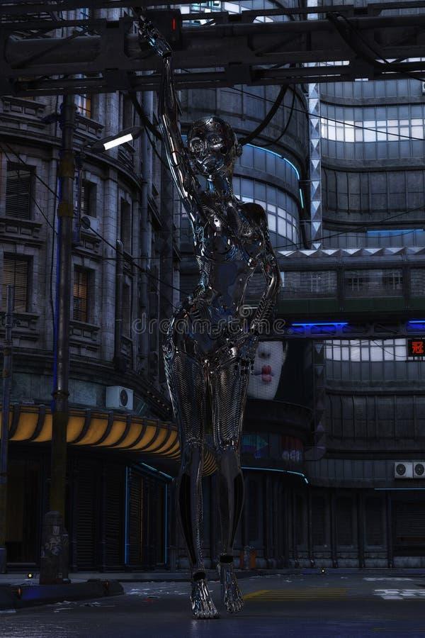 τρισδιάστατη απεικόνιση ενός θηλυκού Cyborg διανυσματική απεικόνιση