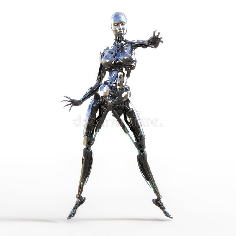 τρισδιάστατη απεικόνιση ενός θηλυκού Cyborg ελεύθερη απεικόνιση δικαιώματος