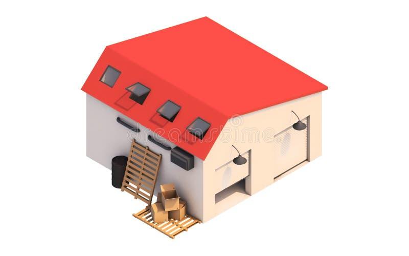 τρισδιάστατη απεικόνιση ενός κιβωτίου γκαράζ, κιβώτιο αποθήκευσης με τα κενά κιβώτια διανυσματική απεικόνιση