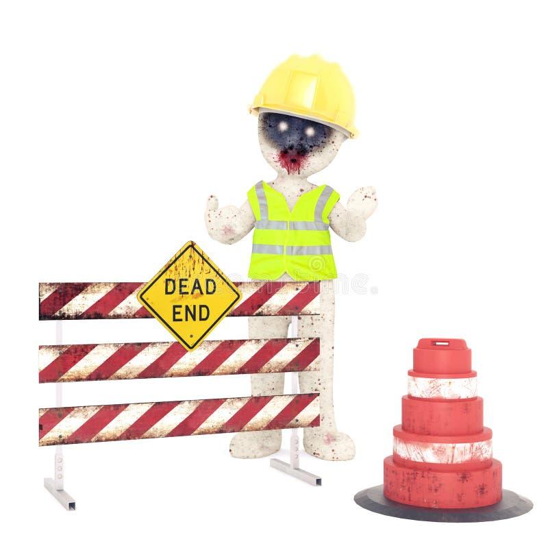 τρισδιάστατη απεικόνιση εργαζομένων οδικής συντήρησης Zombie ατόμων στοκ φωτογραφίες