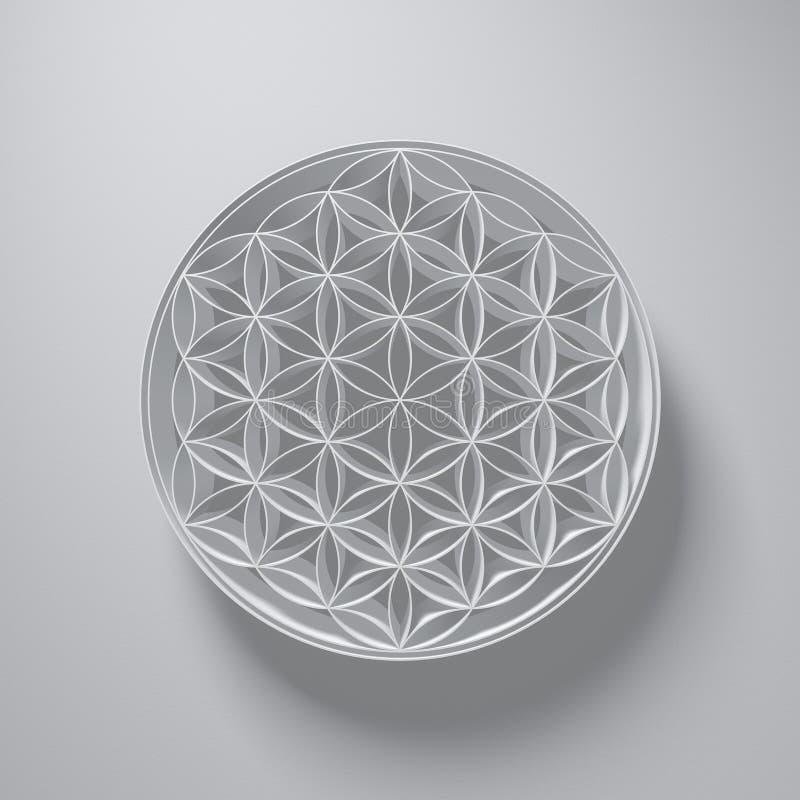 τρισδιάστατη απεικόνιση - λουλούδι του σημαδιού ζωής με το φως ανωτέρω στο γκρι διανυσματική απεικόνιση