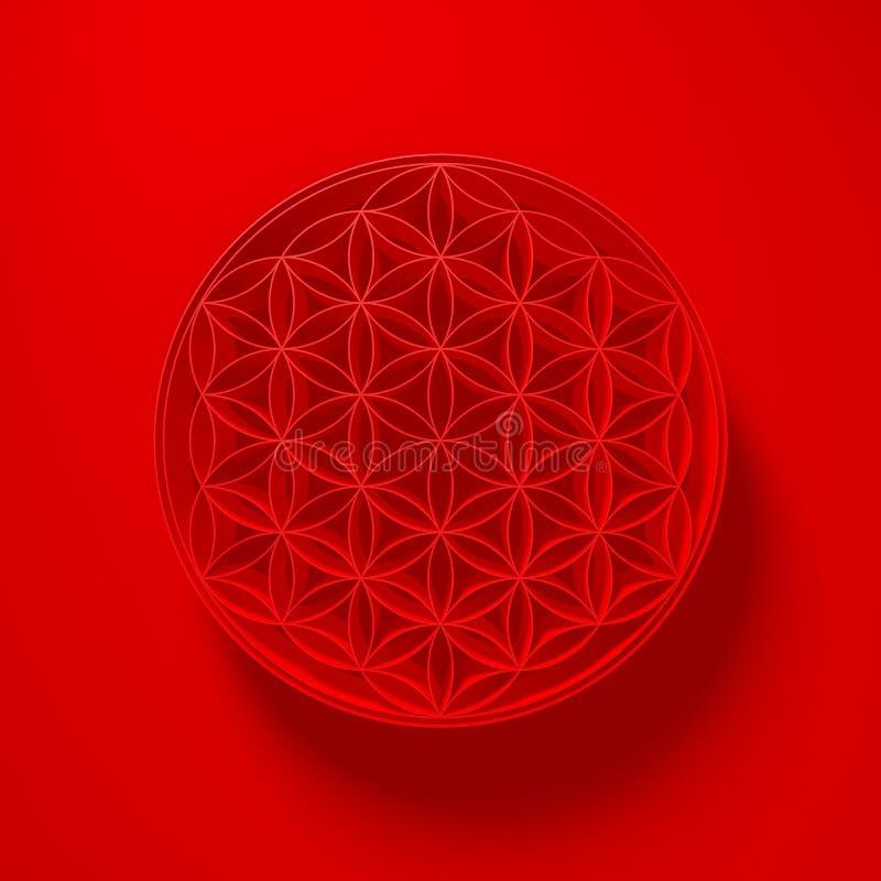 τρισδιάστατη απεικόνιση - λουλούδι του σημαδιού ζωής με το φως ανωτέρω στο κόκκινο απεικόνιση αποθεμάτων
