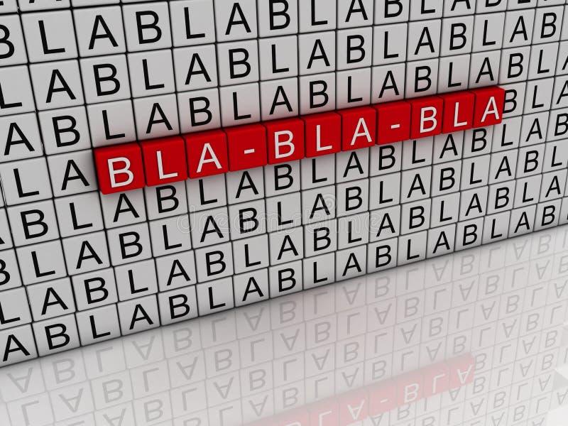 τρισδιάστατη απεικόνιση με το σύννεφο λέξης για το bla bla Bla Συζήτηση για διανυσματική απεικόνιση