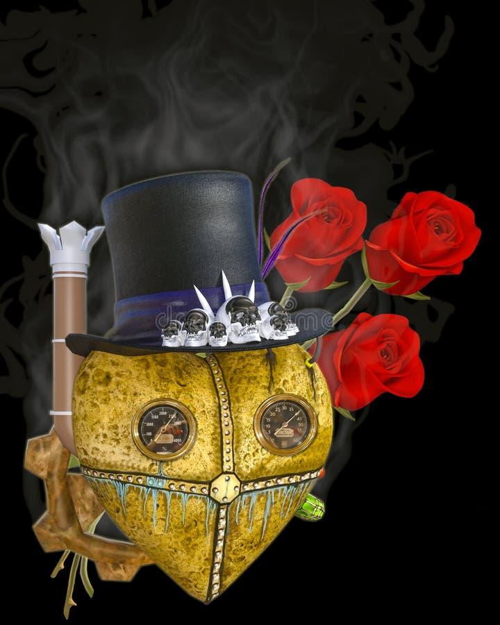 τρισδιάστατη απεικόνιση μιας καρδιάς και των τριαντάφυλλων Steampunk διανυσματική απεικόνιση