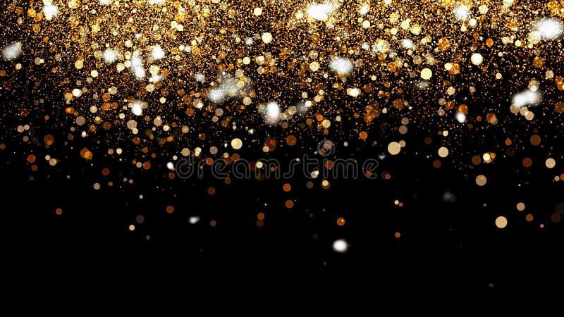 τρισδιάστατη απεικόνιση, μικρή χρυσή σκόνη, γραφική παράσταση των νιφάδων πυρκαγιάς, των σημείων μορίων και των yellow-orange κύκ στοκ εικόνα