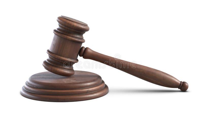 τρισδιάστατη απεικόνιση ξύλινο Gavel δικαστών που απομονώνεται στο άσπρο υπόβαθρο διανυσματική απεικόνιση