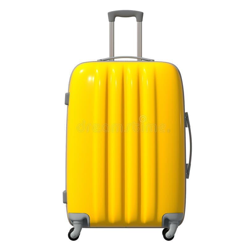 τρισδιάστατη απεικόνιση Ο δρόμος ζάρωσε την πλαστική βαλίτσα είναι κίτρινος πρόσοψη απομονωμένος στοκ φωτογραφία με δικαίωμα ελεύθερης χρήσης