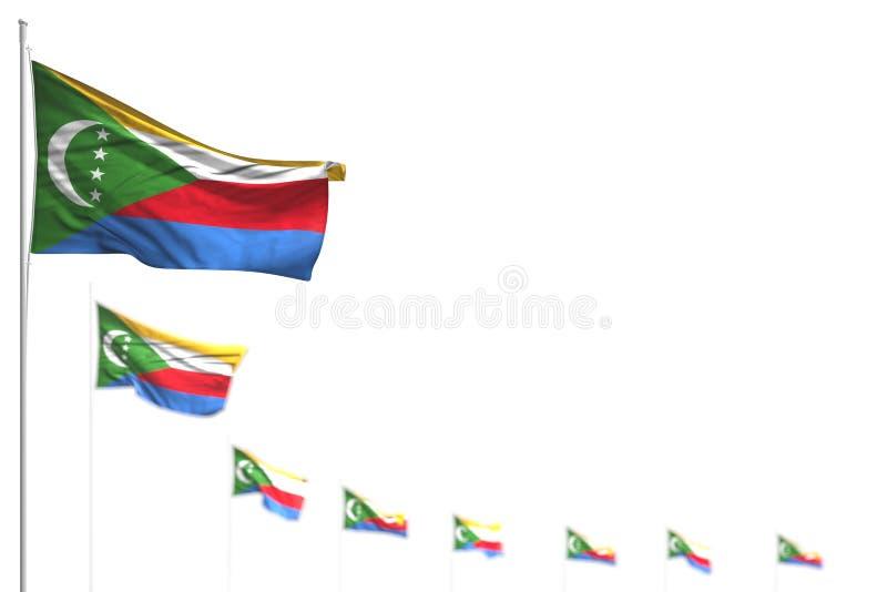 Τρισδιάστατη απεικόνιση σημαιών γιορτής της Νίκαιας - απομονωμένες οι οι Κομόρες σημαίες τοποθέτησαν τη διαγώνιος, απεικόνιση με  διανυσματική απεικόνιση