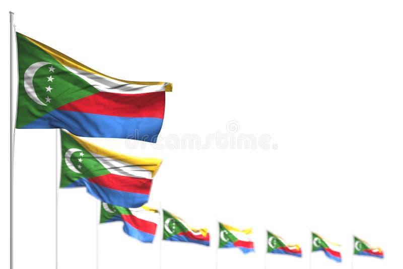 Τρισδιάστατη απεικόνιση σημαιών ημέρας μνήμης της Νίκαιας - απομονωμένες οι οι Κομόρες σημαίες τοποθέτησαν τη διαγώνιος, την απει διανυσματική απεικόνιση