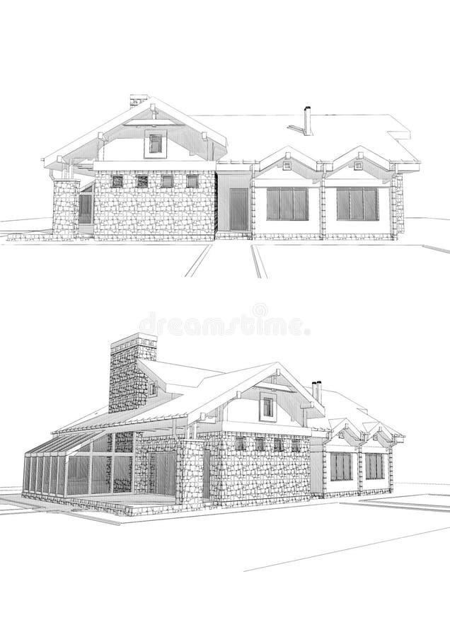 τρισδιάστατη απεικόνιση σκίτσων μολυβιών ενός σύγχρονου ιδιωτικού σπιτιού, διαφορετικές απόψεις διανυσματική απεικόνιση