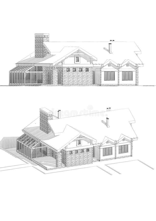 τρισδιάστατη απεικόνιση σκίτσων μολυβιών ενός σύγχρονου ιδιωτικού σπιτιού, διαφορετικές απόψεις απεικόνιση αποθεμάτων