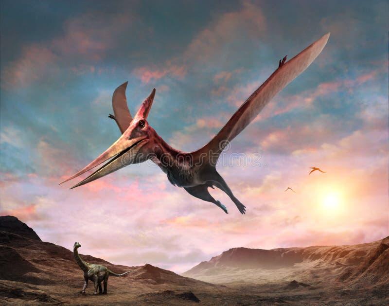 Τρισδιάστατη απεικόνιση σκηνής Pteranodon διανυσματική απεικόνιση