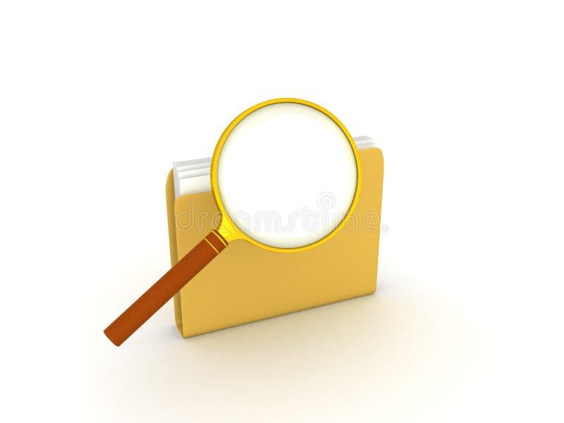 τρισδιάστατη απεικόνιση της ενίσχυσης - γυαλί πάνω από το φάκελλο αρχείων απεικόνιση αποθεμάτων