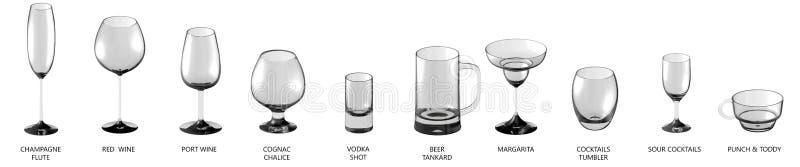 τρισδιάστατη απεικόνιση της μεγάλης συλλογής των διάφορων γυαλιών για τα κρασιά και των ποτών κοκτέιλ που απομονώνονται στην άσπρ στοκ εικόνες