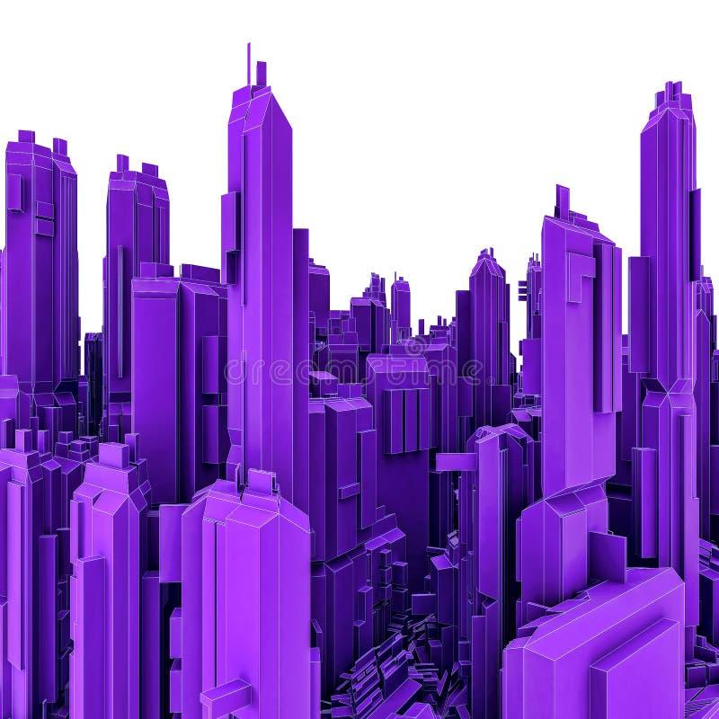 τρισδιάστατη απεικόνιση της φουτουριστικής πόλης των ουρανοξυστών Όψη τοπίων διανυσματική απεικόνιση