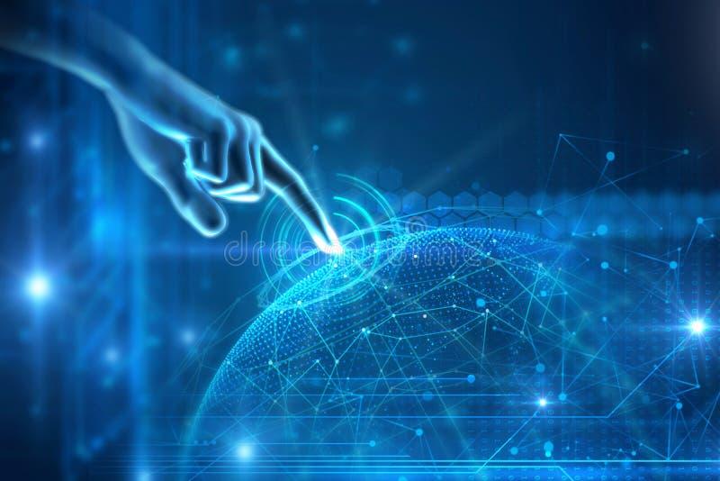 τρισδιάστατη απεικόνιση της χειρονομίας αφής χεριών στη φουτουριστική τεχνολογία ε απεικόνιση αποθεμάτων