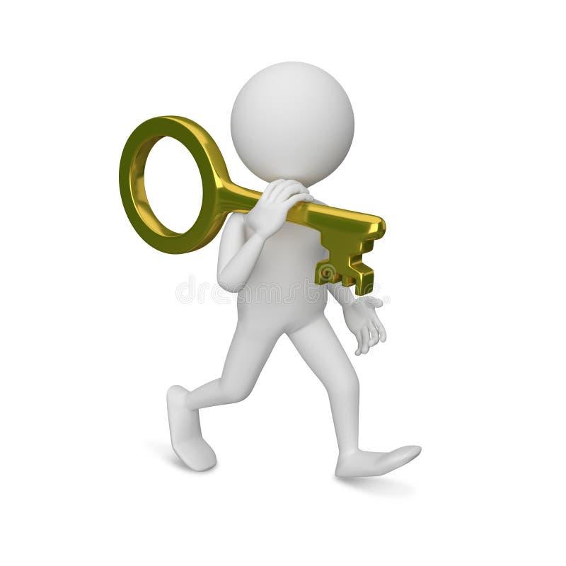 τρισδιάστατη απεικόνιση του αφηρημένου ατόμου με το κλειδί διανυσματική απεικόνιση