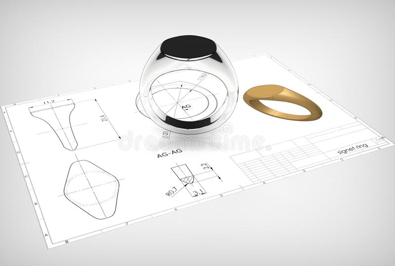 τρισδιάστατη απεικόνιση του δαχτυλιδιού signet διανυσματική απεικόνιση