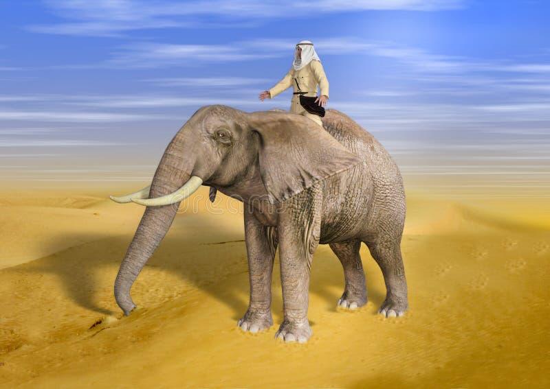 τρισδιάστατη απεικόνιση του ελέφαντα οδήγησης τυχοδιωκτών ερήμων την ηλιόλουστη ημέρα διανυσματική απεικόνιση