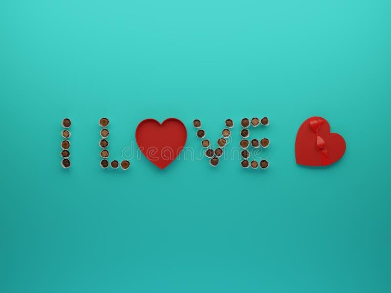 τρισδιάστατη απεικόνιση του κειμένου του U αγάπης Ι με τη flatlay έννοια καραμελών σοκολατών ελεύθερη απεικόνιση δικαιώματος