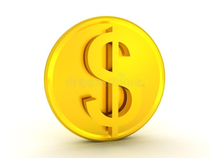 τρισδιάστατη απεικόνιση του λαμπρού χρυσού νομίσματος δολαρίων ελεύθερη απεικόνιση δικαιώματος
