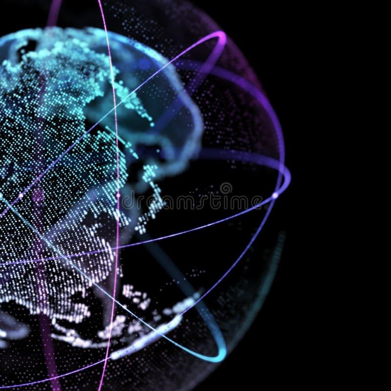 τρισδιάστατη απεικόνιση του λεπτομερούς εικονικού πλανήτη Γη Τεχνολογικός ψηφιακός κόσμος σφαιρών στοκ εικόνα με δικαίωμα ελεύθερης χρήσης