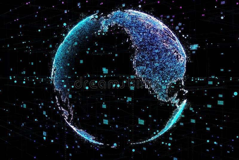 τρισδιάστατη απεικόνιση του λεπτομερούς εικονικού πλανήτη Γη Τεχνολογικός ψηφιακός κόσμος σφαιρών διανυσματική απεικόνιση